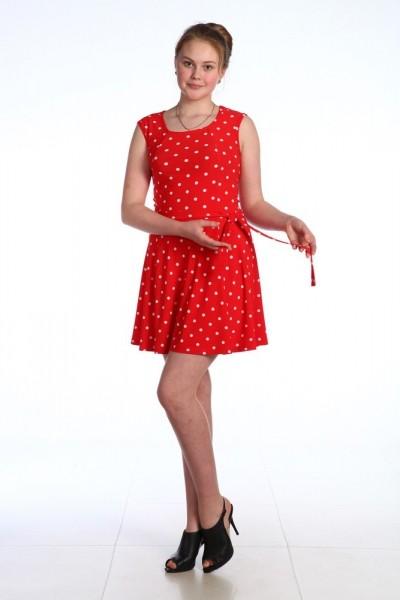 М408 Платье Белый горох на красном фоне, масло 44-54