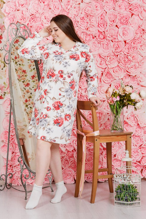 М499 Платье домашнее с длинным рукавом, флис 46-60